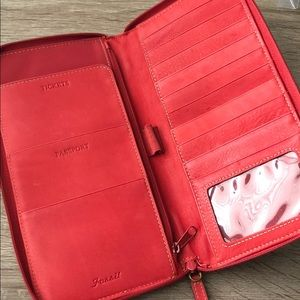Red Leather Follis Travel Wallet/Clutch
